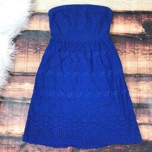 Blue Crochet Strapless Summer Dress Lace